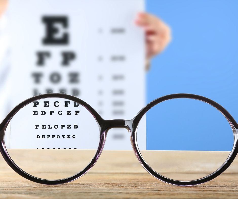Image of eye glasses in front of eye chart for 20/20 vision
